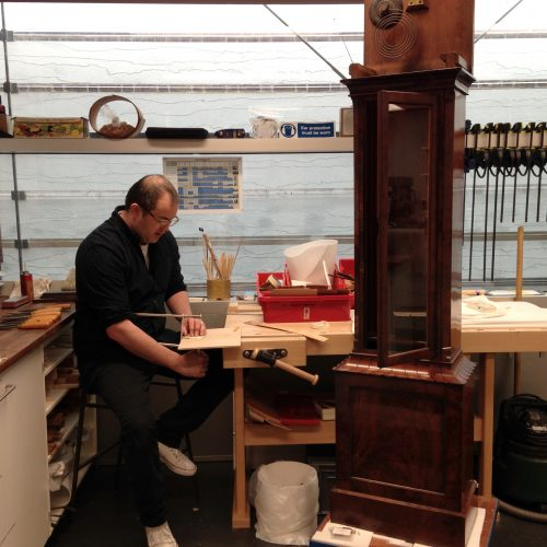 Carrying out veneer replacements on a long case clock