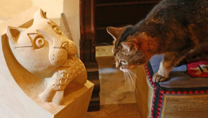 Carving student's cat corbel in Evening Standard